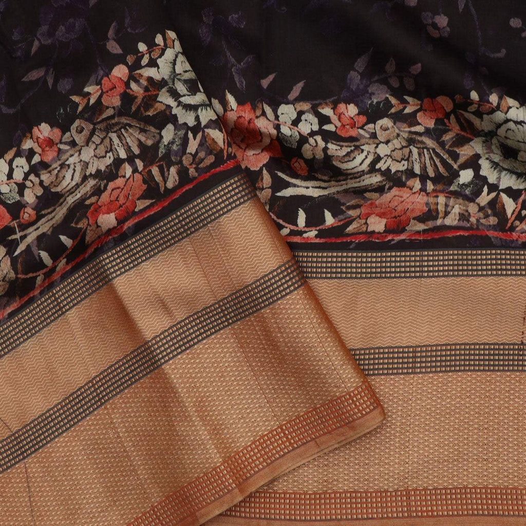 Black Floral Printed Silk Saree