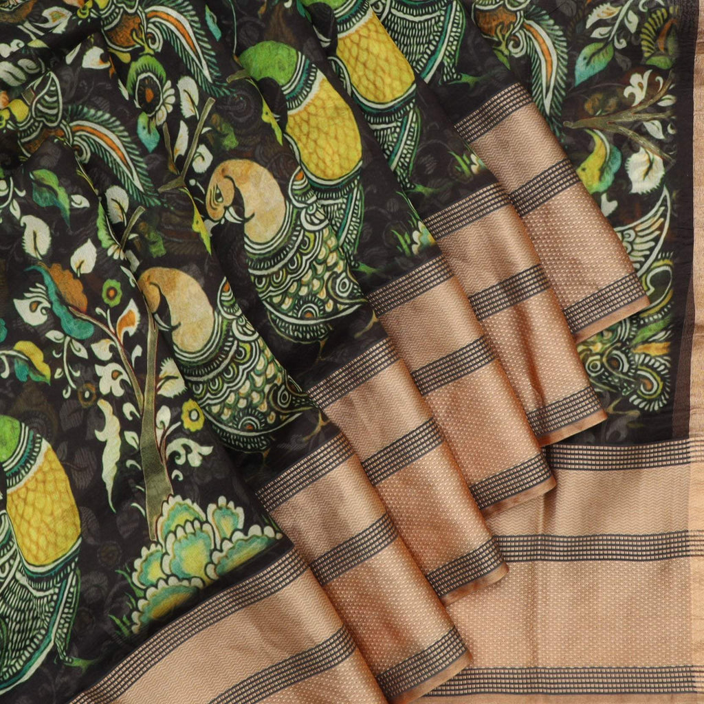 Black Kalamkari Print Silk Saree