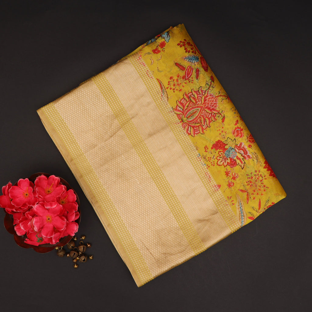 Deep Yellow Floral Printed Silk Saree