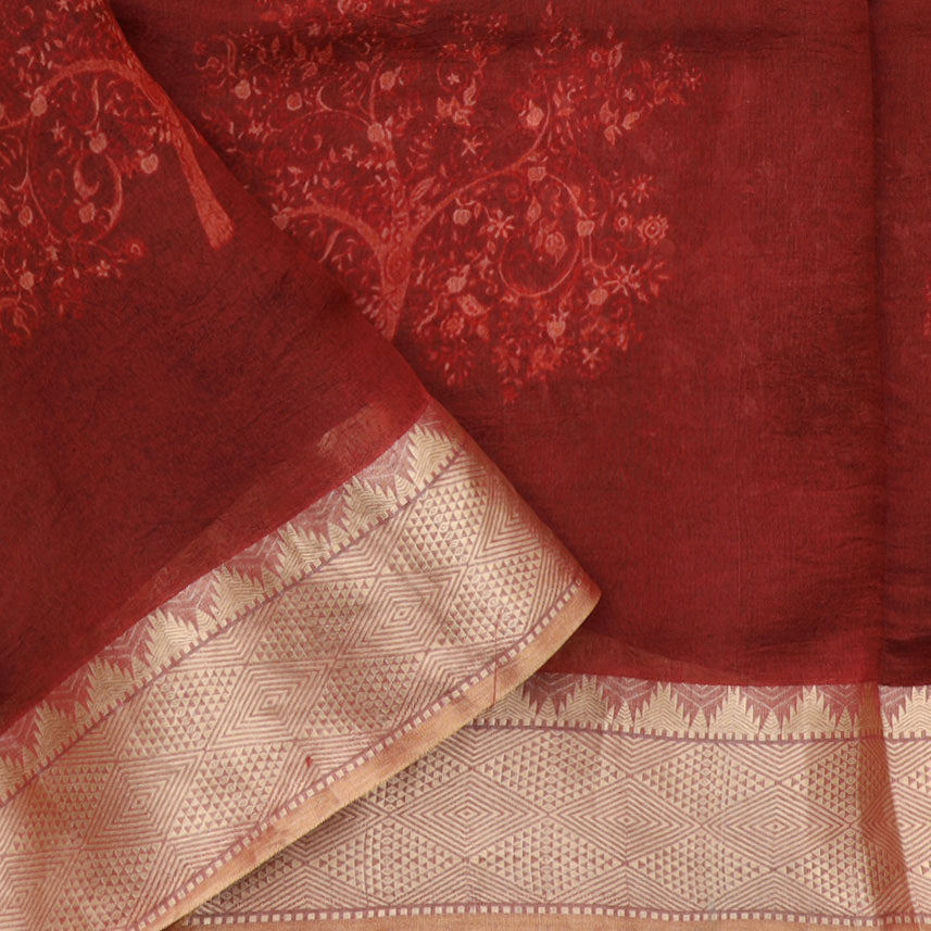Maroon Printed Silk Saree With Tree And Elephant Motifs