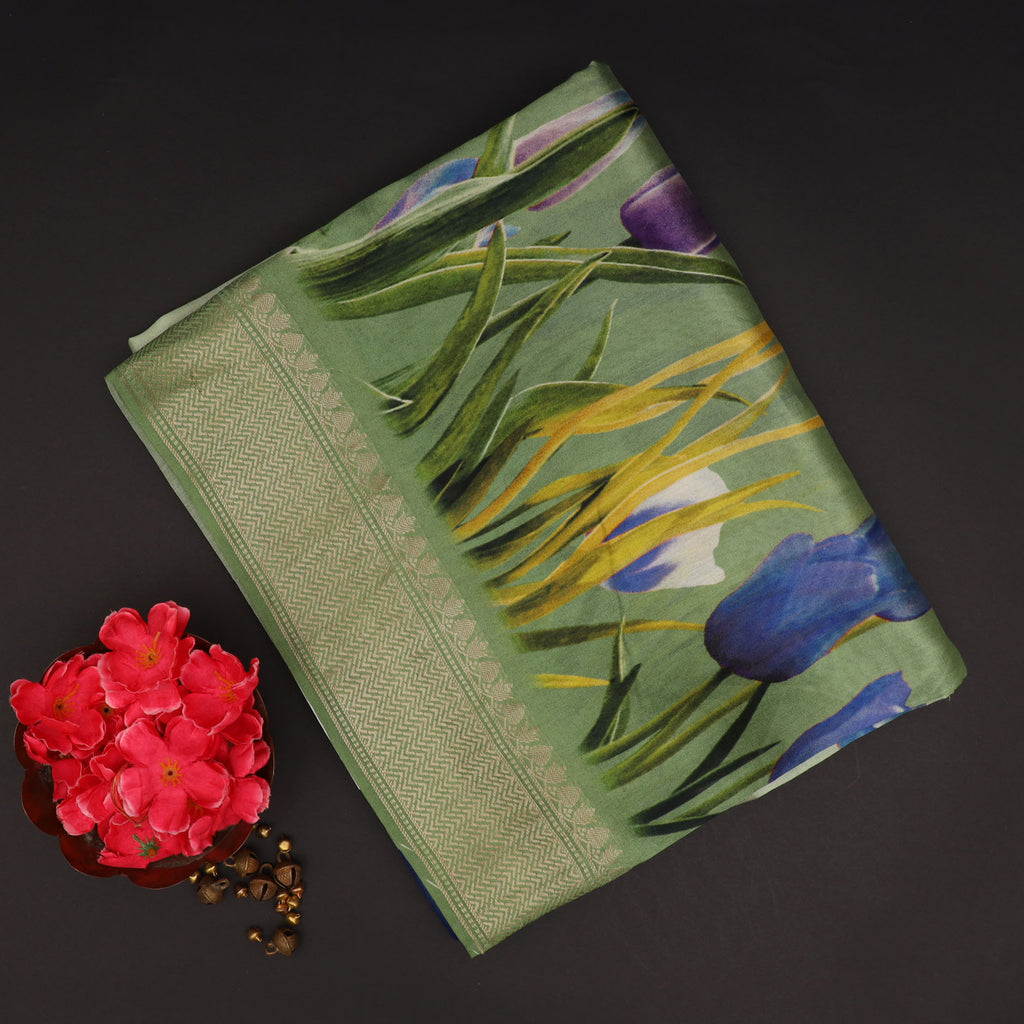 Shades Of Green Ombre Floral Printed Silk Saree