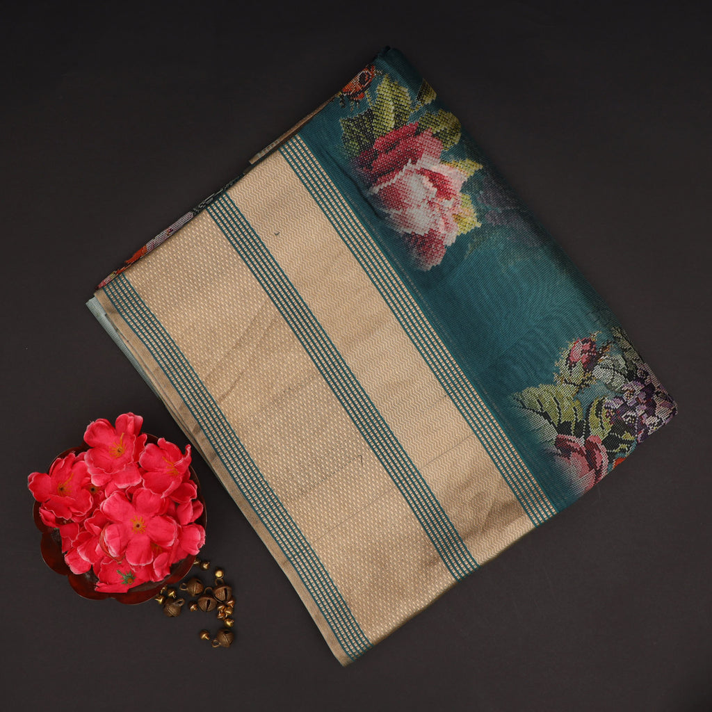 Shades Of Teal ombre Floral Printed Silk Saree