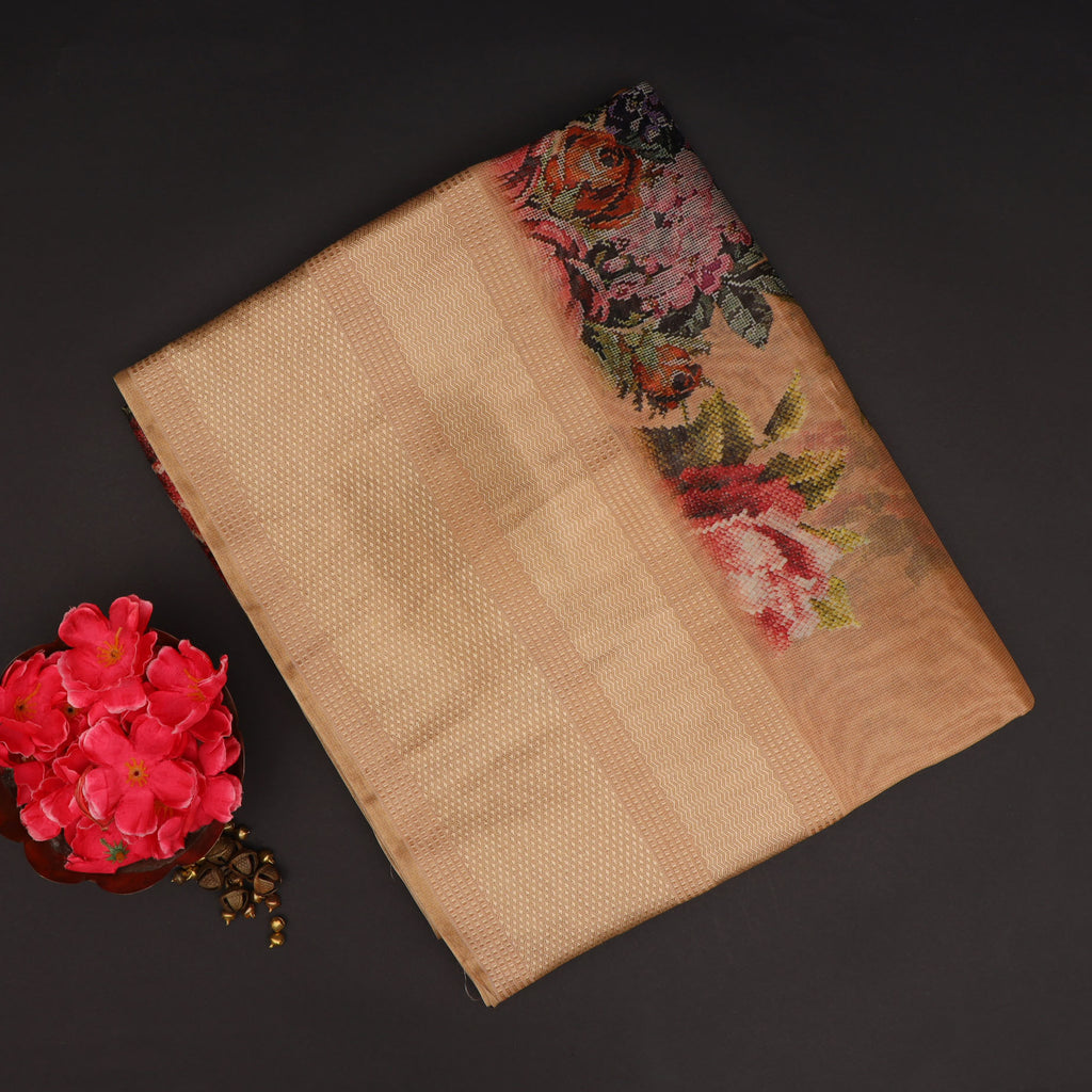 Deep Beige Floral Printed Silk Saree