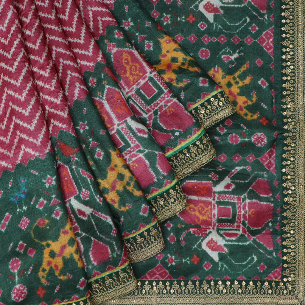 Forest Green And Deep Berry Pink Patola Print Tussar Handloom Saree