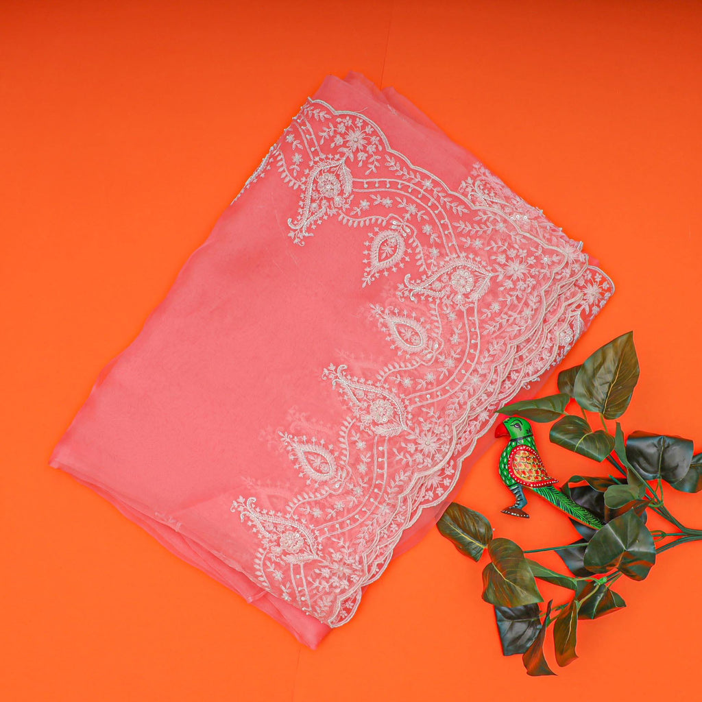 Flamingo Pink Organza Floral Embroidery Saree-252909 - Singhania's