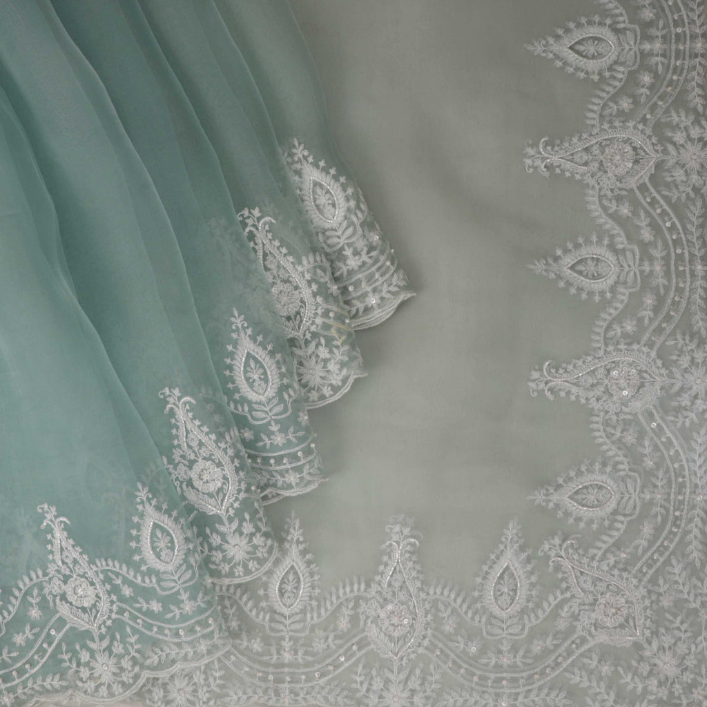 Ice Blue Organza Floral Embroidery Saree-252915 - Singhania's