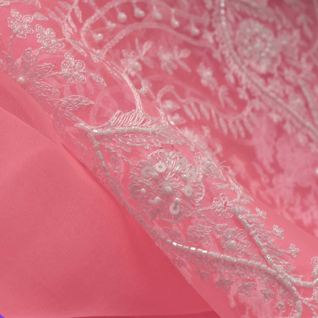 Princess Pink Organza Floral Embroidery Saree-252917 - Singhania's