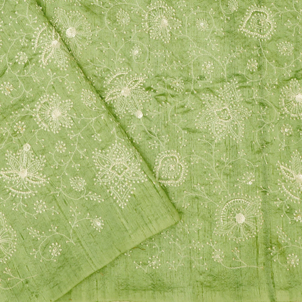 Lime Green Organza Floral Embroidery Saree-252921 - Singhania's