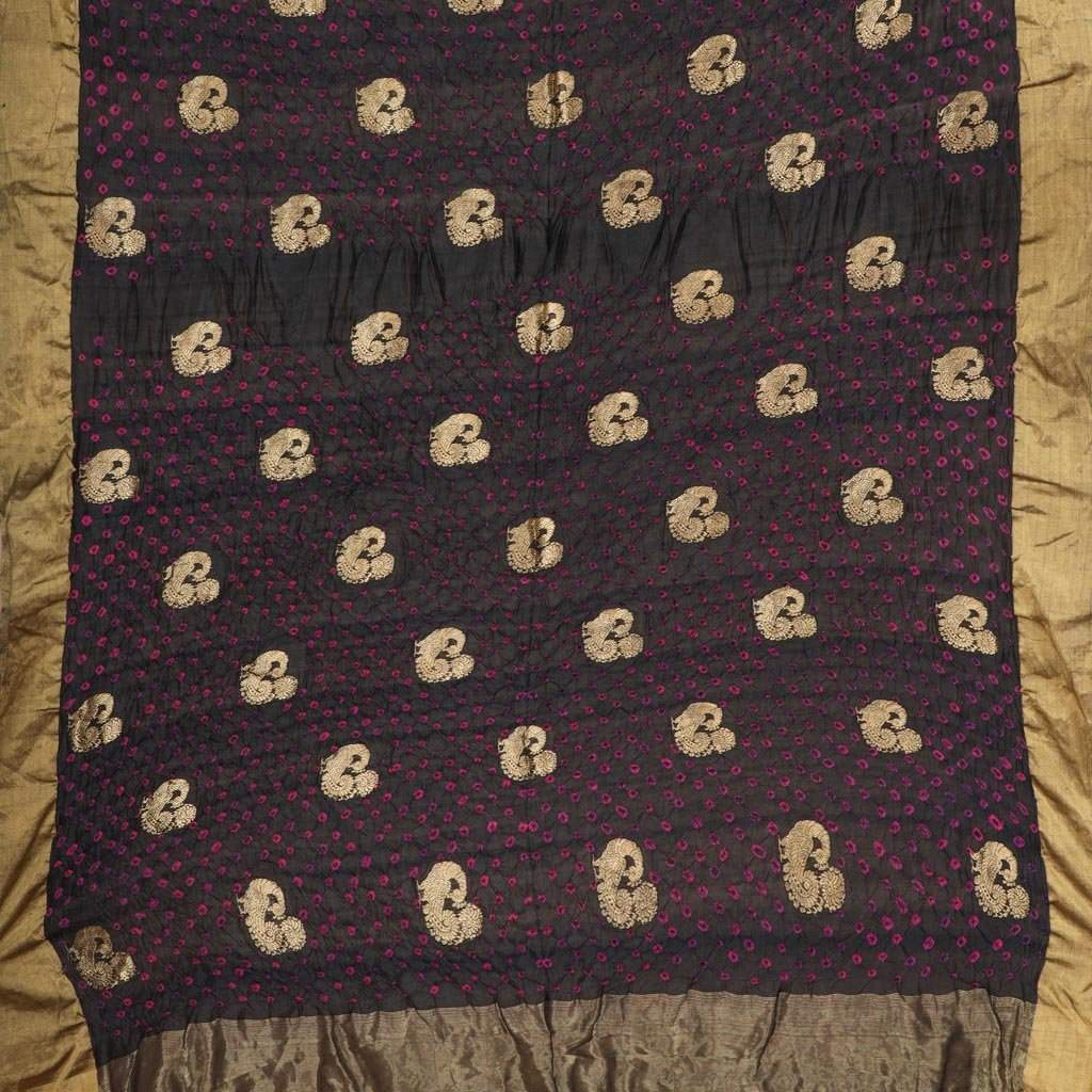 Black Bandhani Silk Handloom Saree