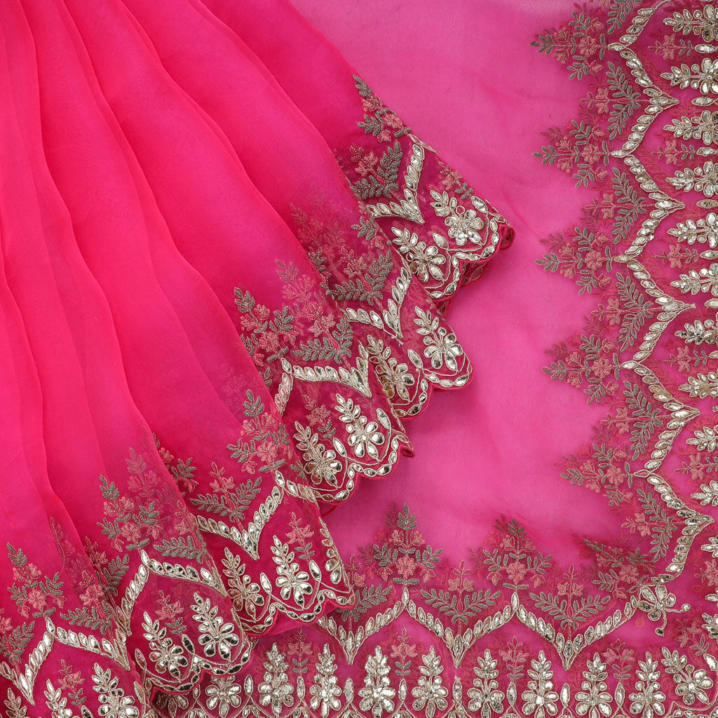 Rogue Pink Organza Embroidery Saree With Gotta Patti