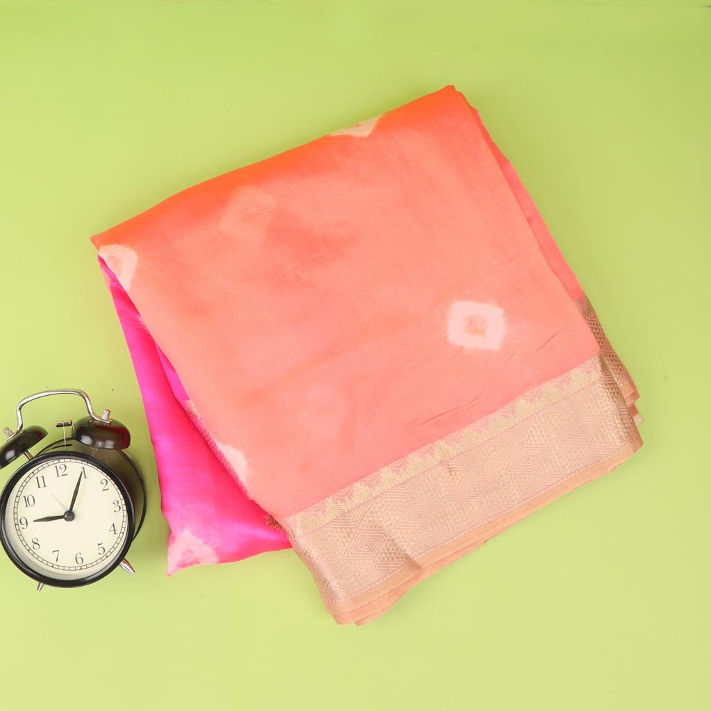 Shades Of Pink Bandhani Silk Saree