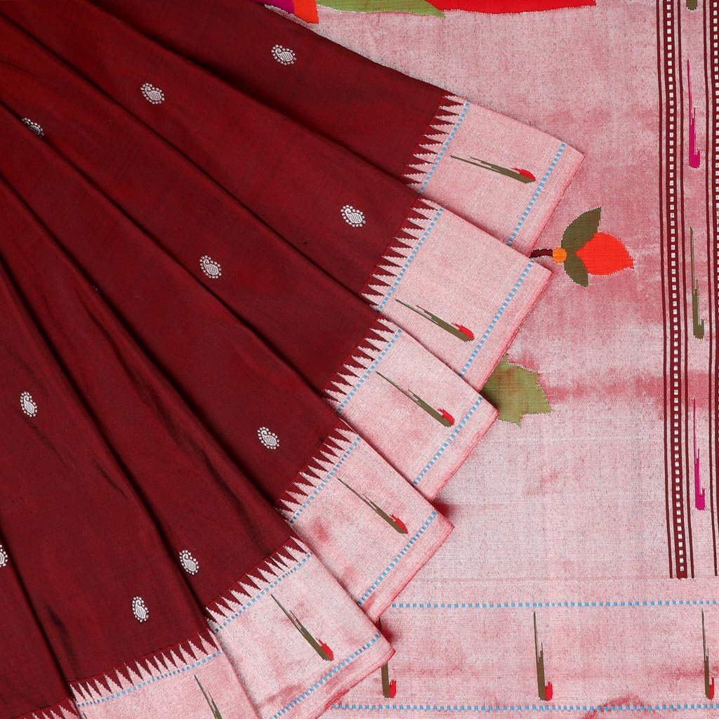 Maroon Painthani Silk Handloom Saree With Paisley Buttas