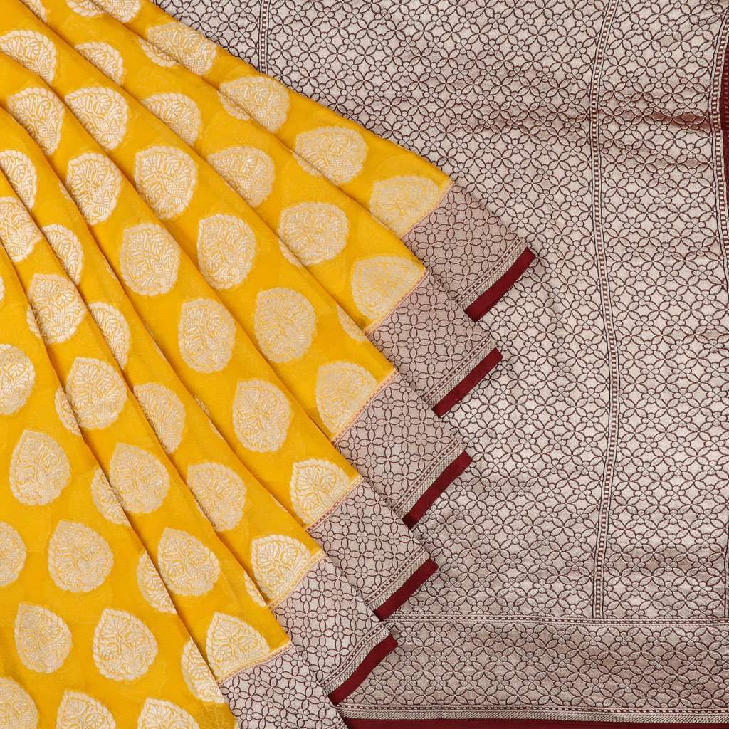 Canary Yellow Banarasi Georgette Saree With Floral Motifs