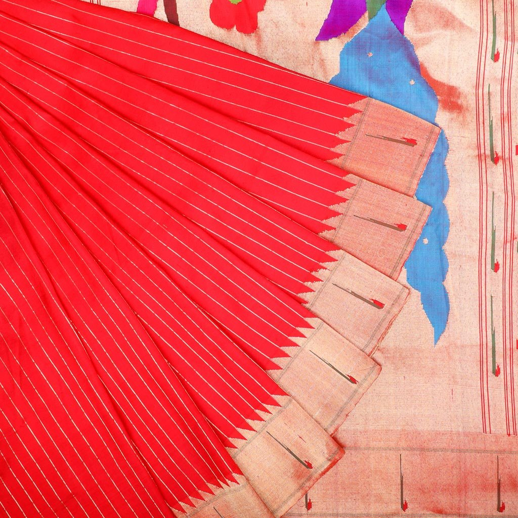 Scarlet Red Paithani Silk Handloom Saree With Stripes