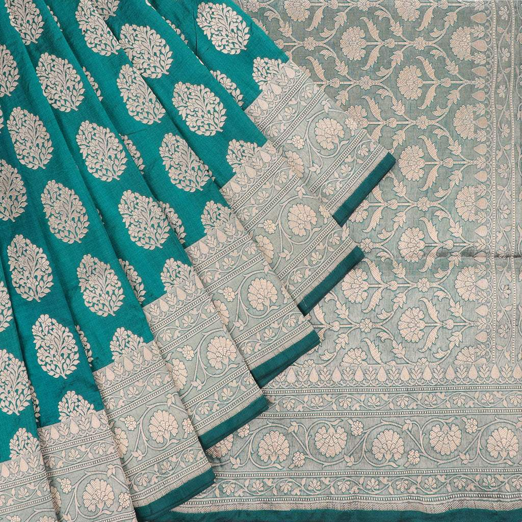 Bottle Green Banarasi Silk Handloom Saree With Floral Motifs