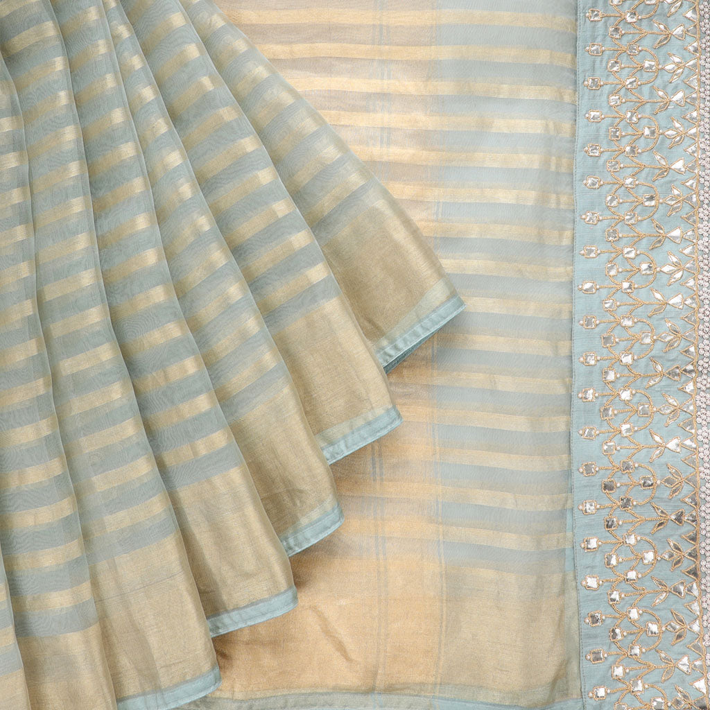 Sage Blue And Gold Organza Embroidery Saree With Gotta Patti