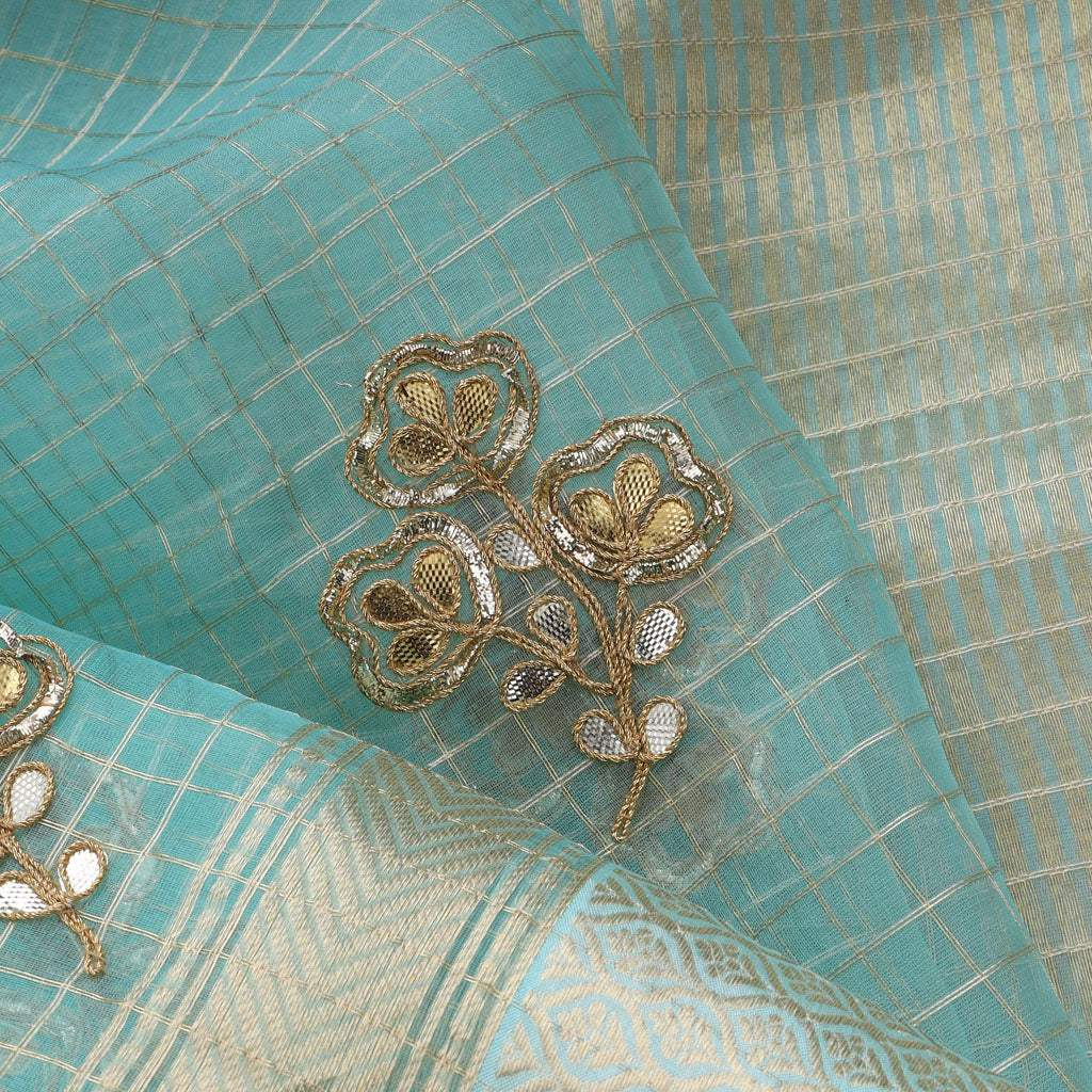 Cyan Blue Organza Embroidery Saree With Gotta Patti