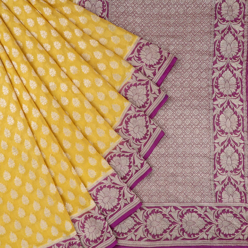 Medallion Yellow Banarasi Georgette Saree With Floral Buttas