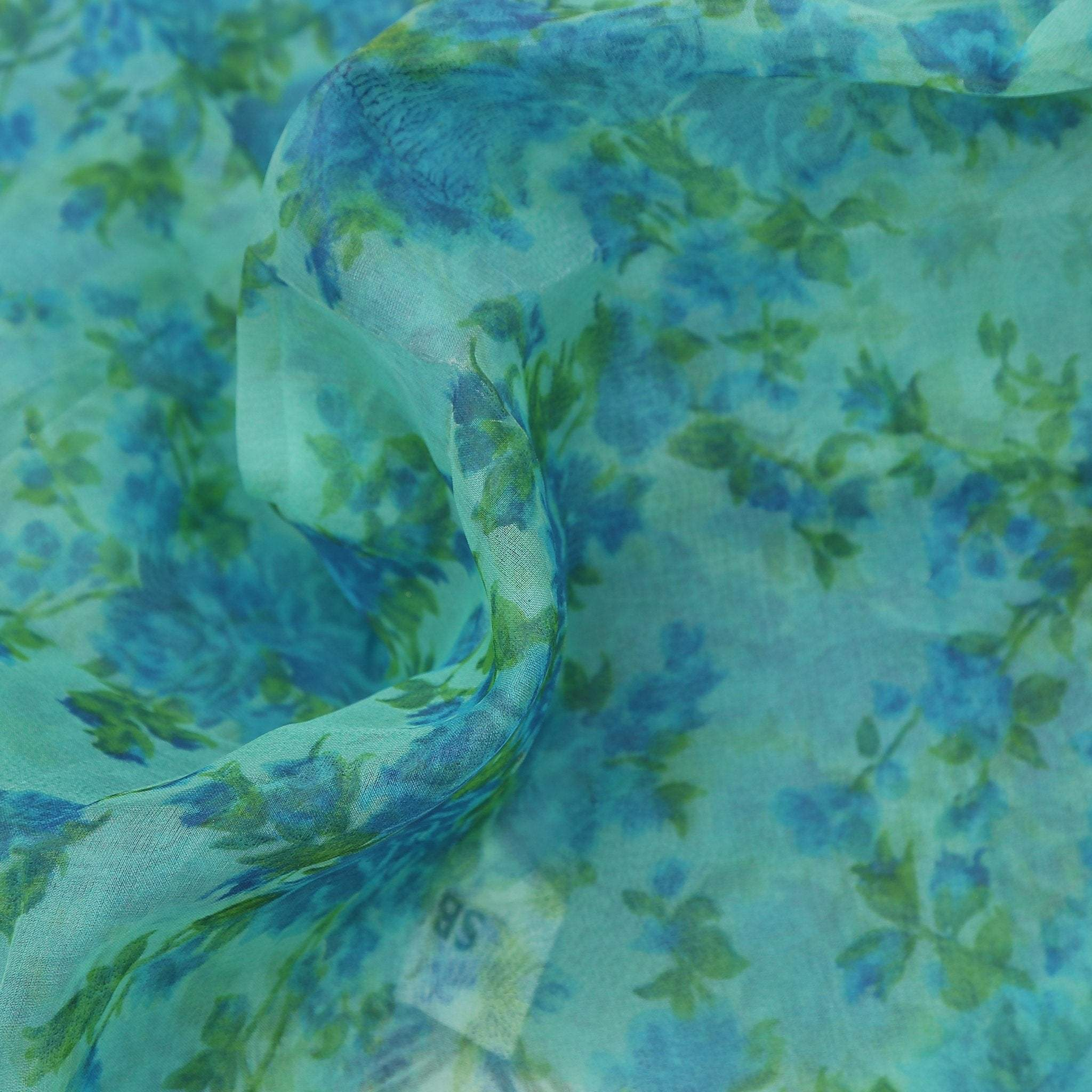 buy Tiffany Blue Tonal Organza Printed Fabric Online
