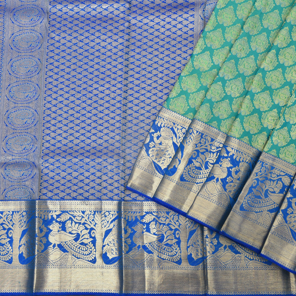 Pine-Green-Handloom-Kanjivaram-Silk-Saree