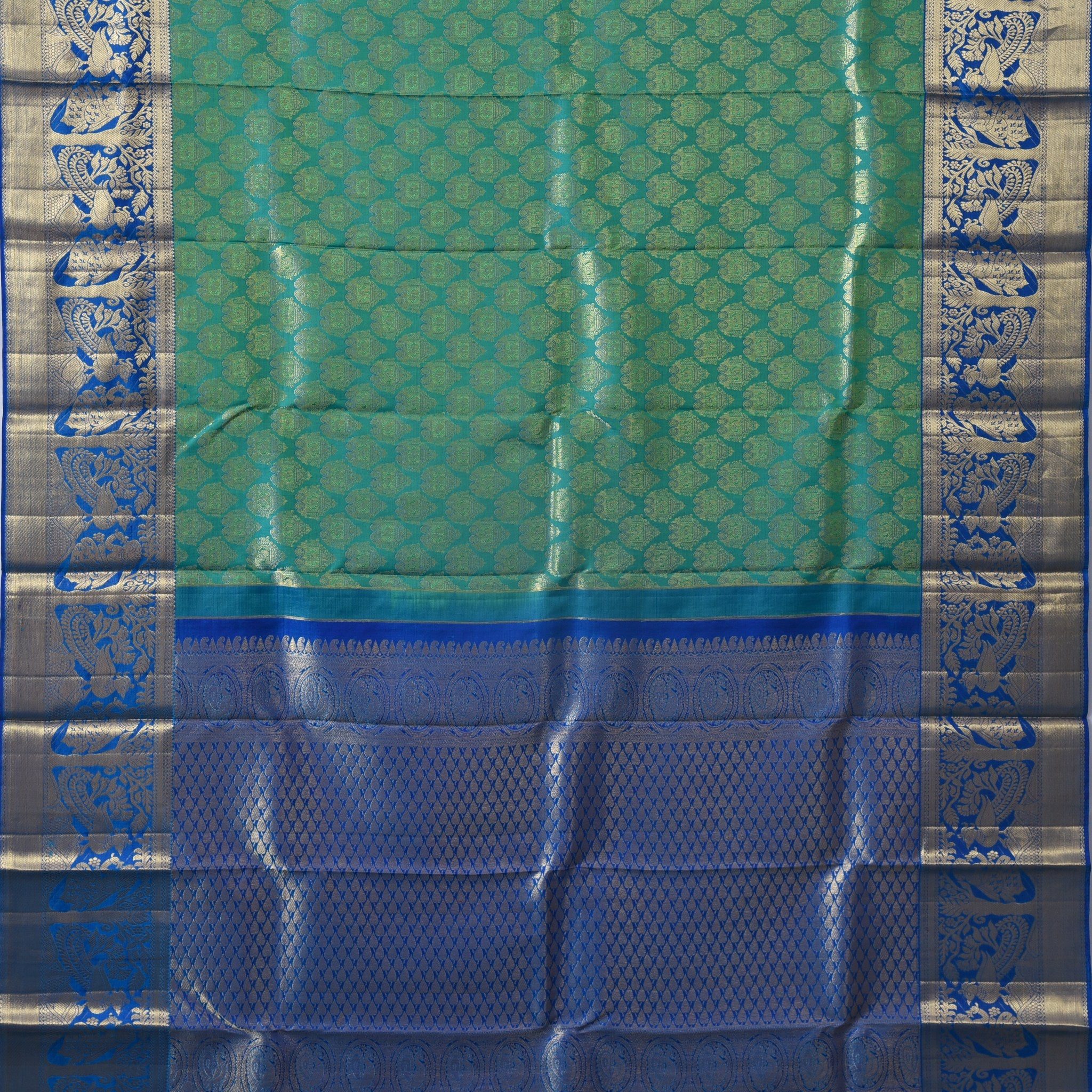 BB055301-Pine Green Handloom Korvai Kanjivaram Silk Saree