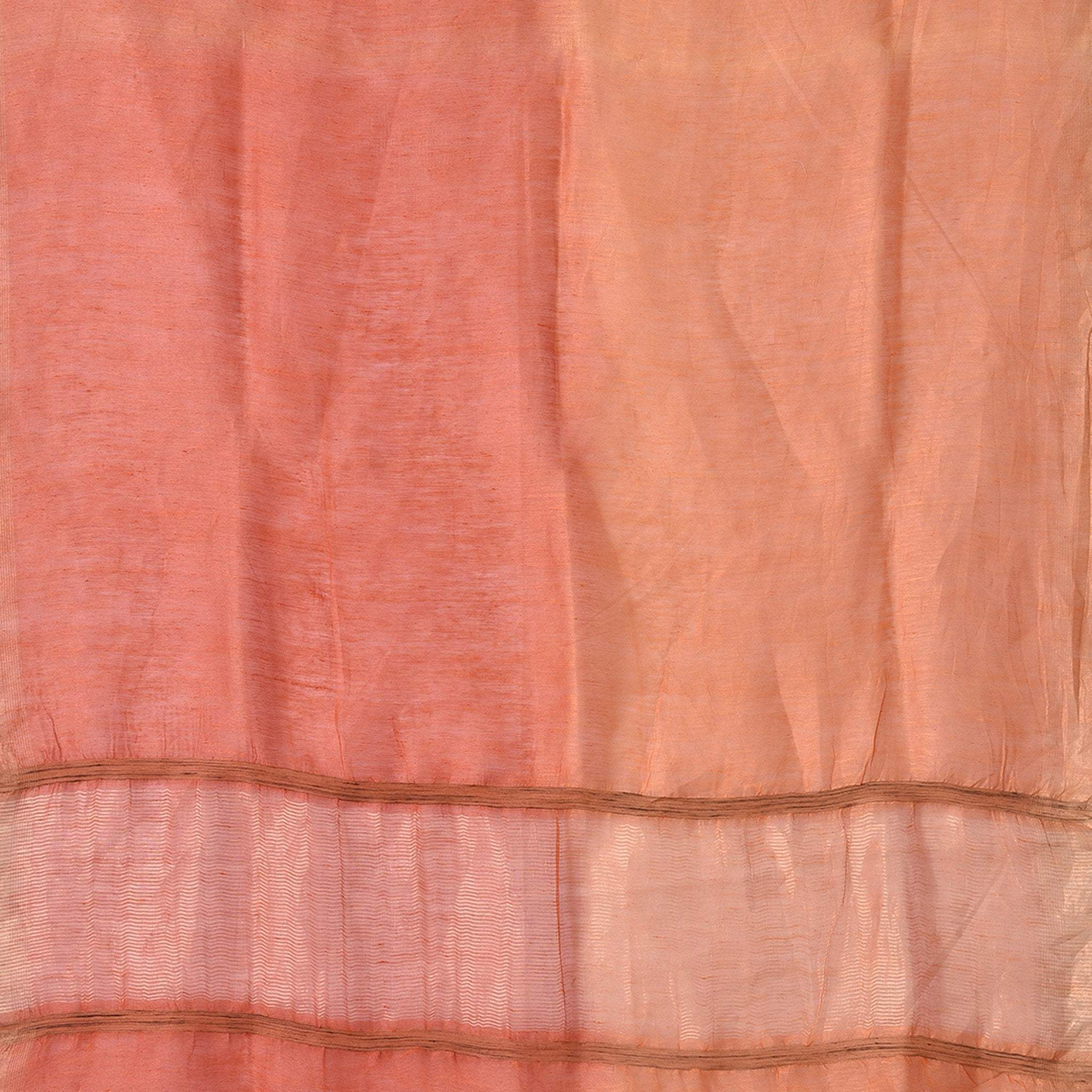 BB059650-Rust Orange Silk Linen Handloom Saree