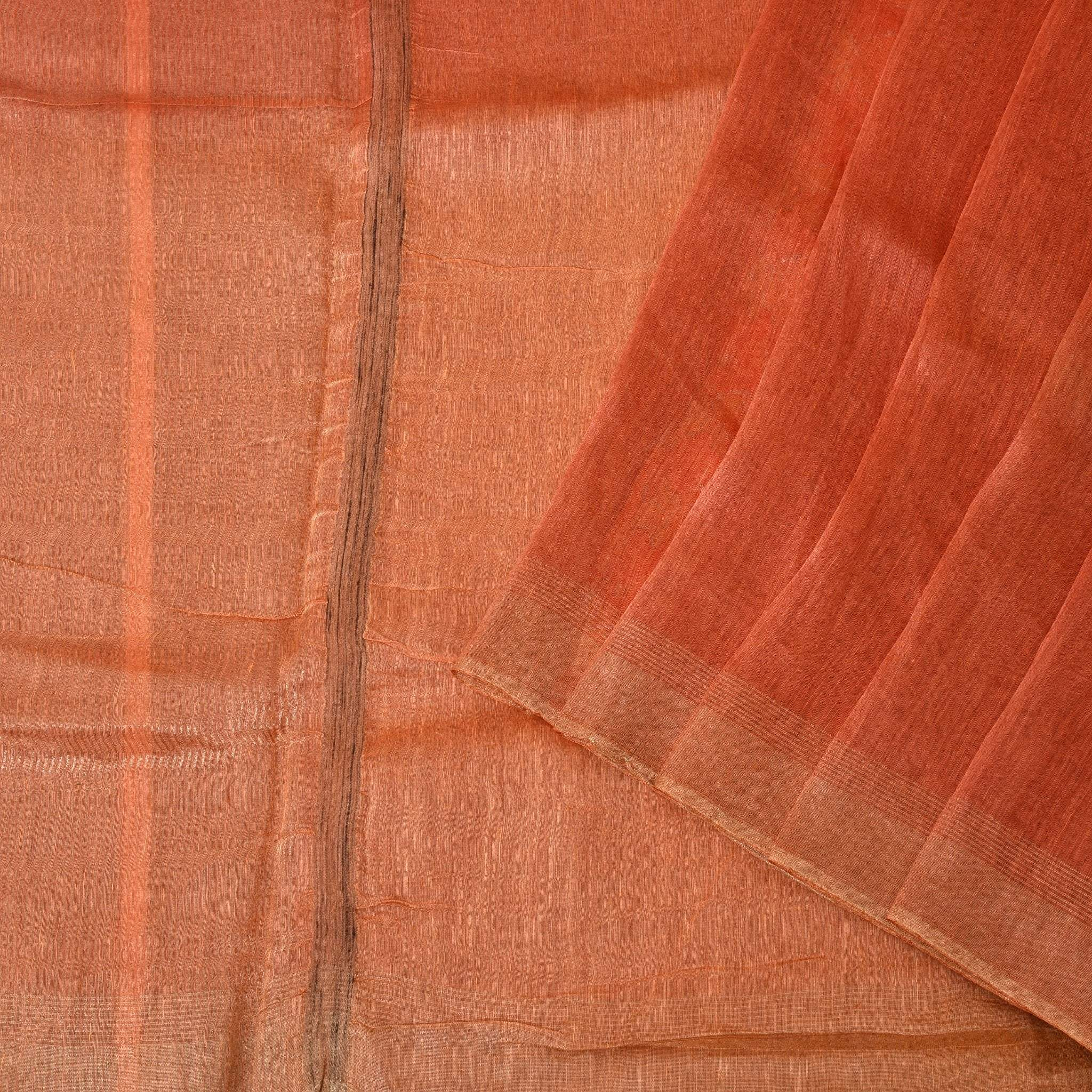 Rust-Orange-Silk-Linen-Handloom-Saree