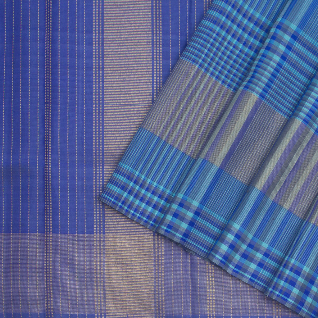 Shades-Of-Blue-Kanjivaram-Silk-Handloom-Saree-With-Checks