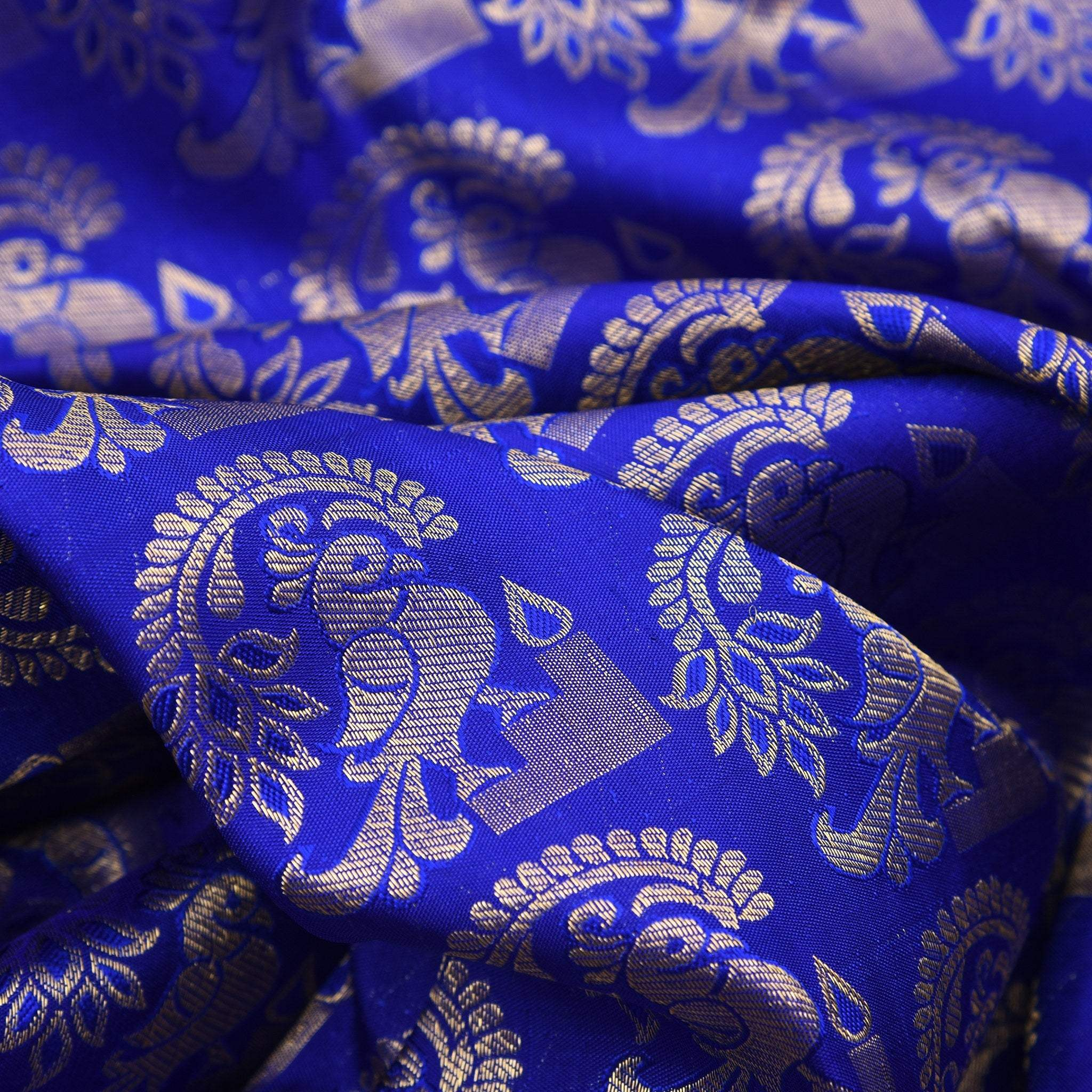 BB063517-Azure Blue Handloom Kanjivaram Silk Saree