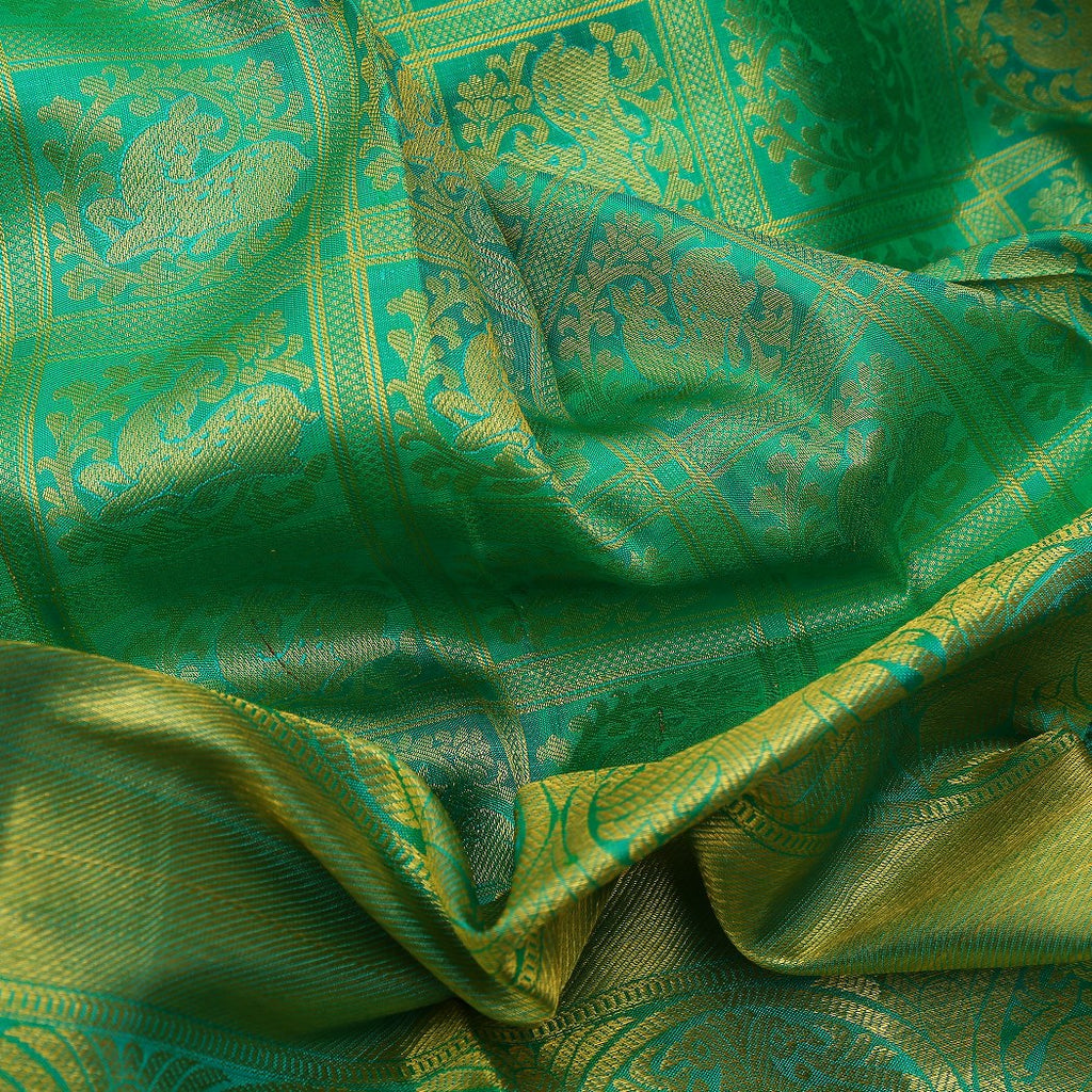 Viridian Green Kanjivaram Silk Handloom Saree With Deer Motifs