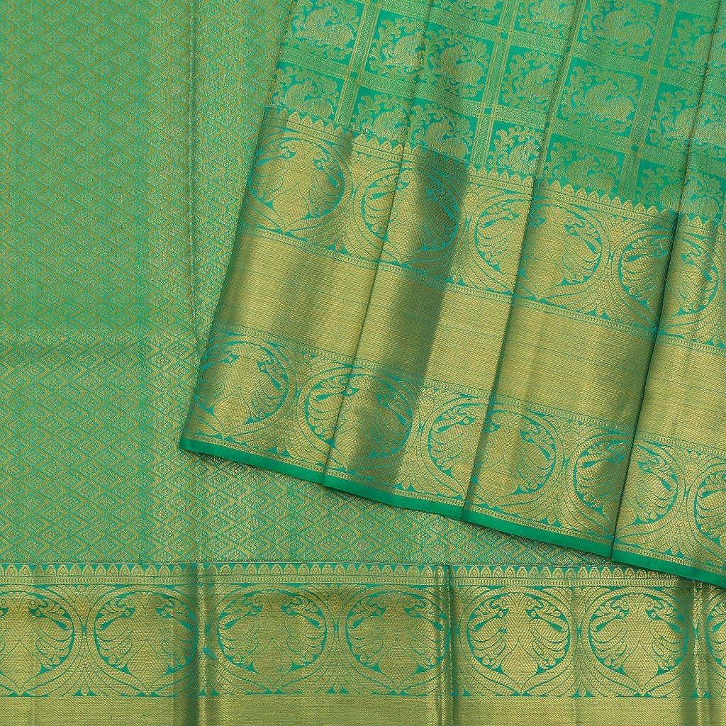Viridian-Green-Kanjivaram-Silk-handloom-Saree-With-Deer-Motifs
