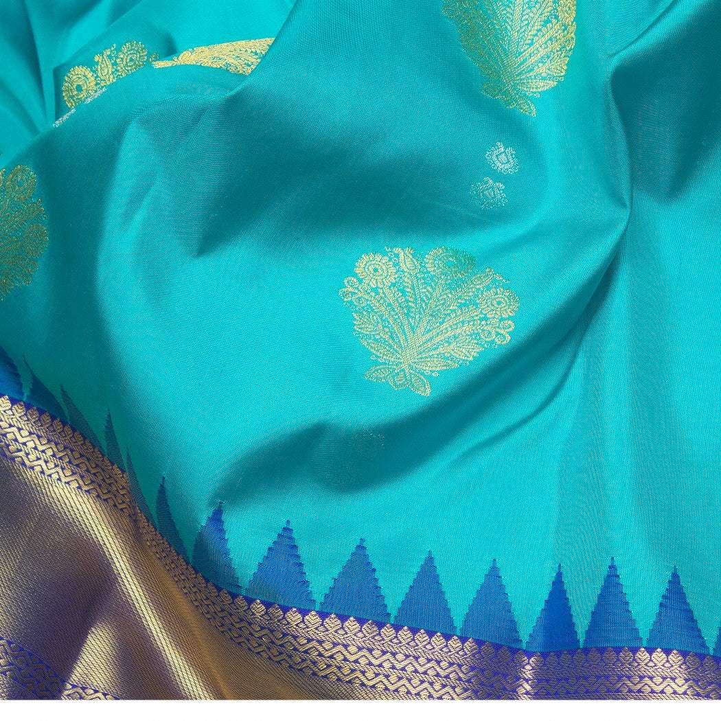 BB070875-Cyan Blue Korvai Kanjivaram Silk Handloom Saree With Floral Motifs