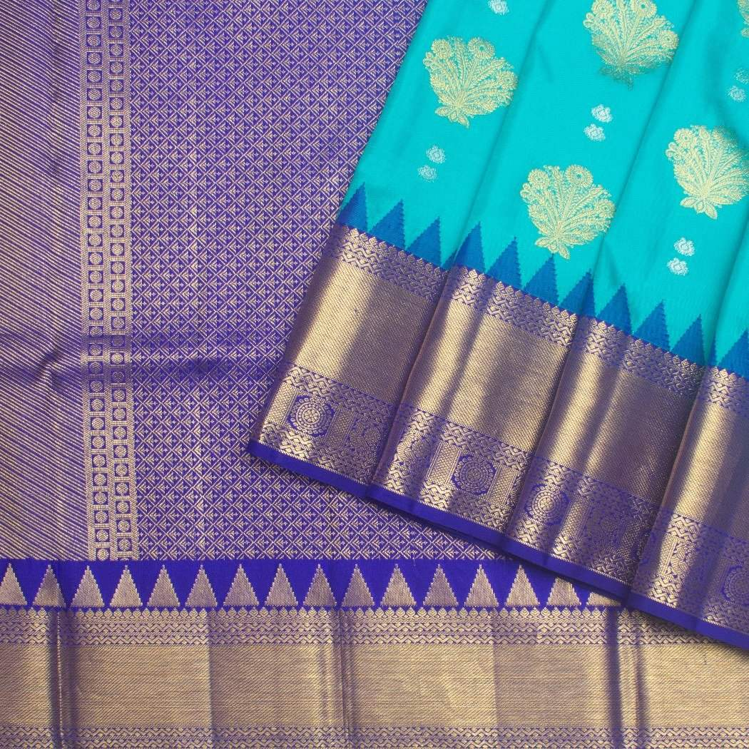 Cyan-Blue-Kanjivaram-Silk-Handloom-Saree-With-Floral-Motifs