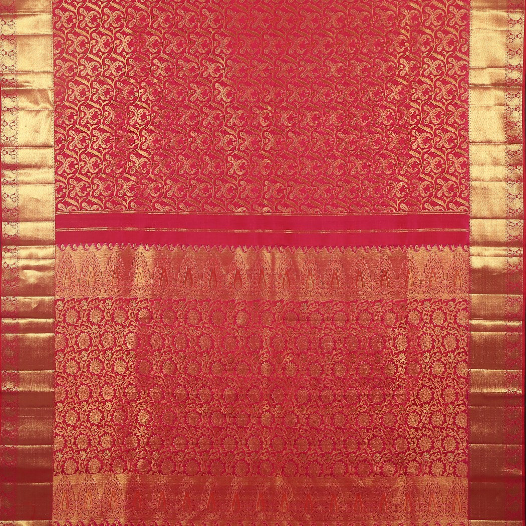 BB071058-Hot Pink Kanjivaram Silk Handloom Saree With Jaal Design