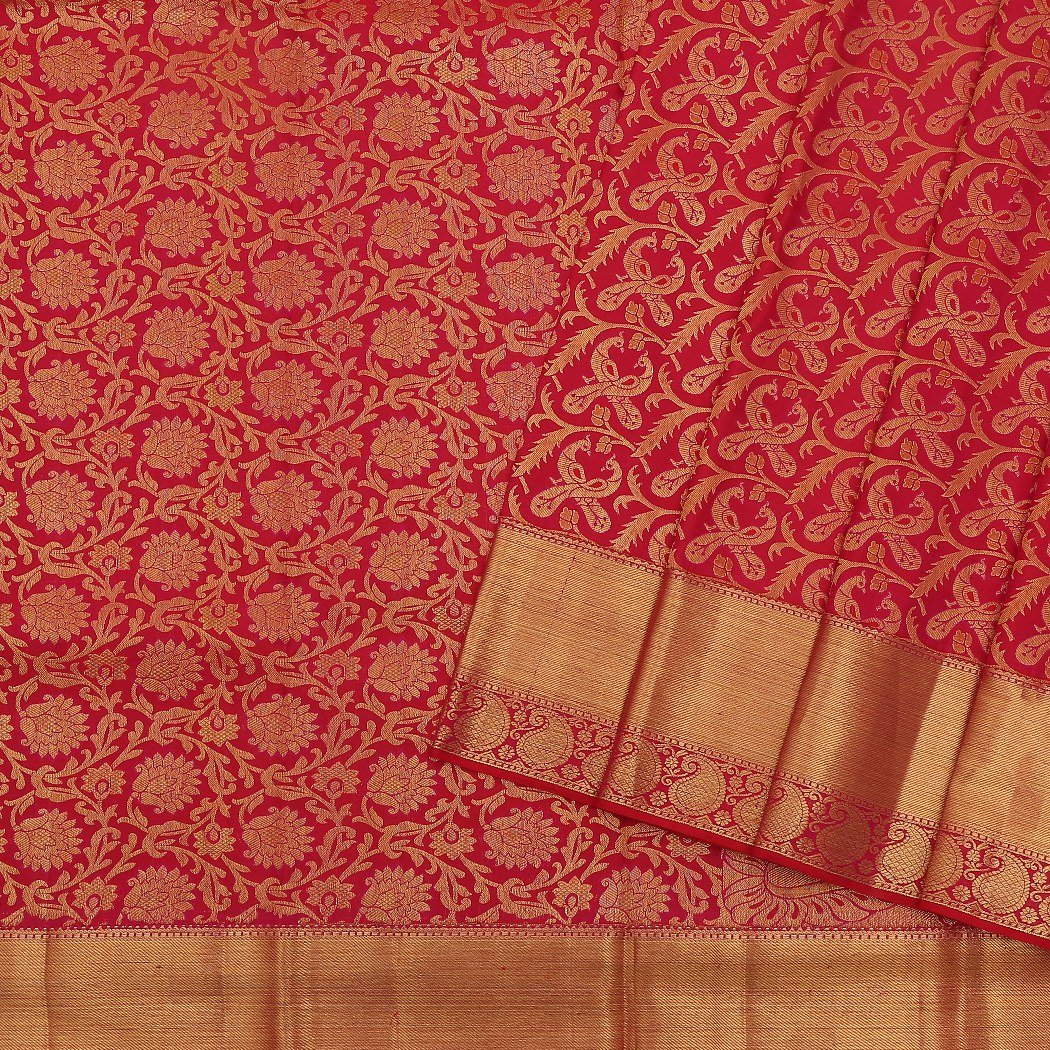 Hot-Pink-Kanjivaram-Silk-Handloom-Saree-With-Jaal-Design