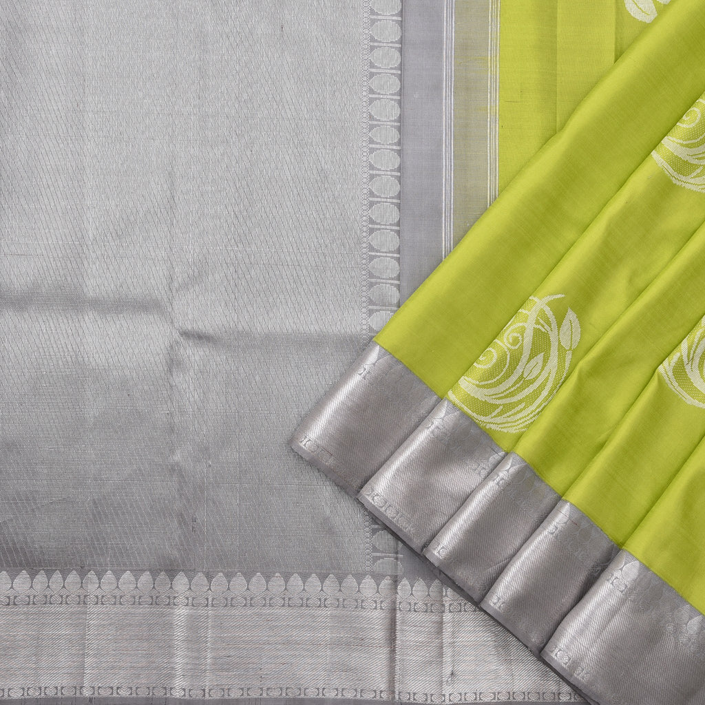 Pear-Green-Handloom-Kanjivaram-Silk-Saree