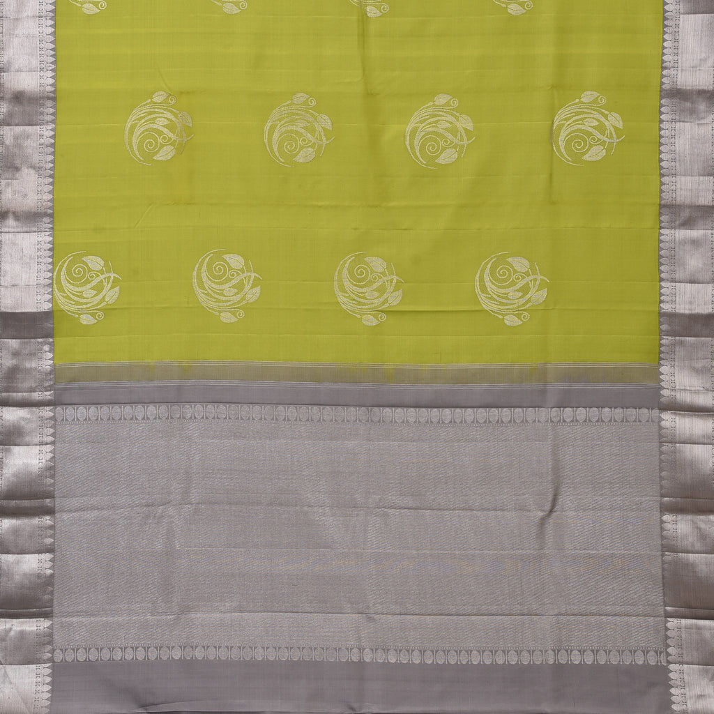 Pear Green Handloom Korvai Kanjivaram Silk Saree