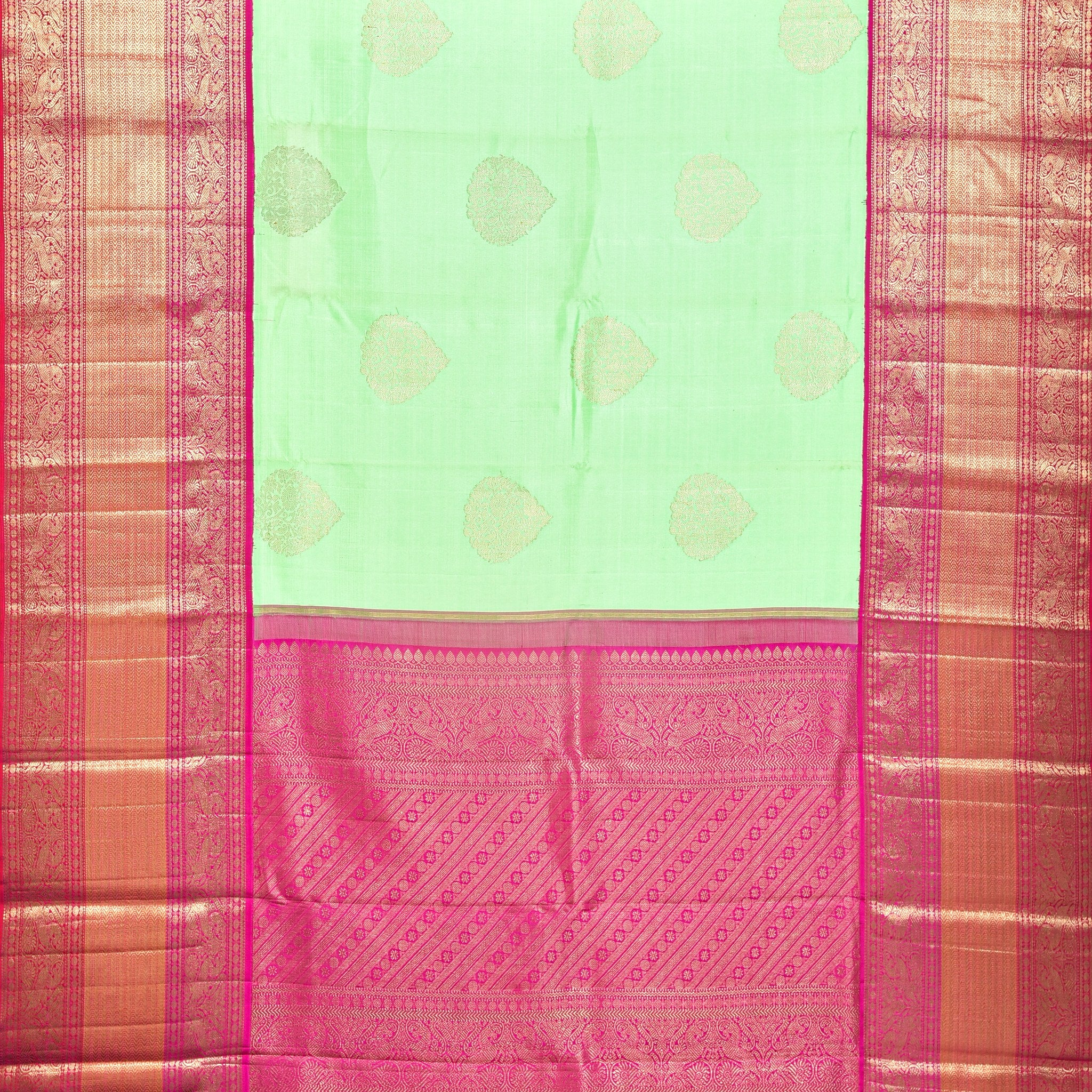 BB071724-Lime Green Handloom Korvai Kanjivaram Silk Saree