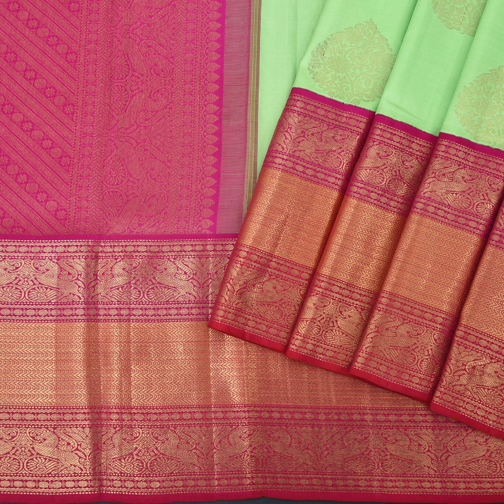 Lime-Green-Handloom-Kanjivaram-Silk-Saree