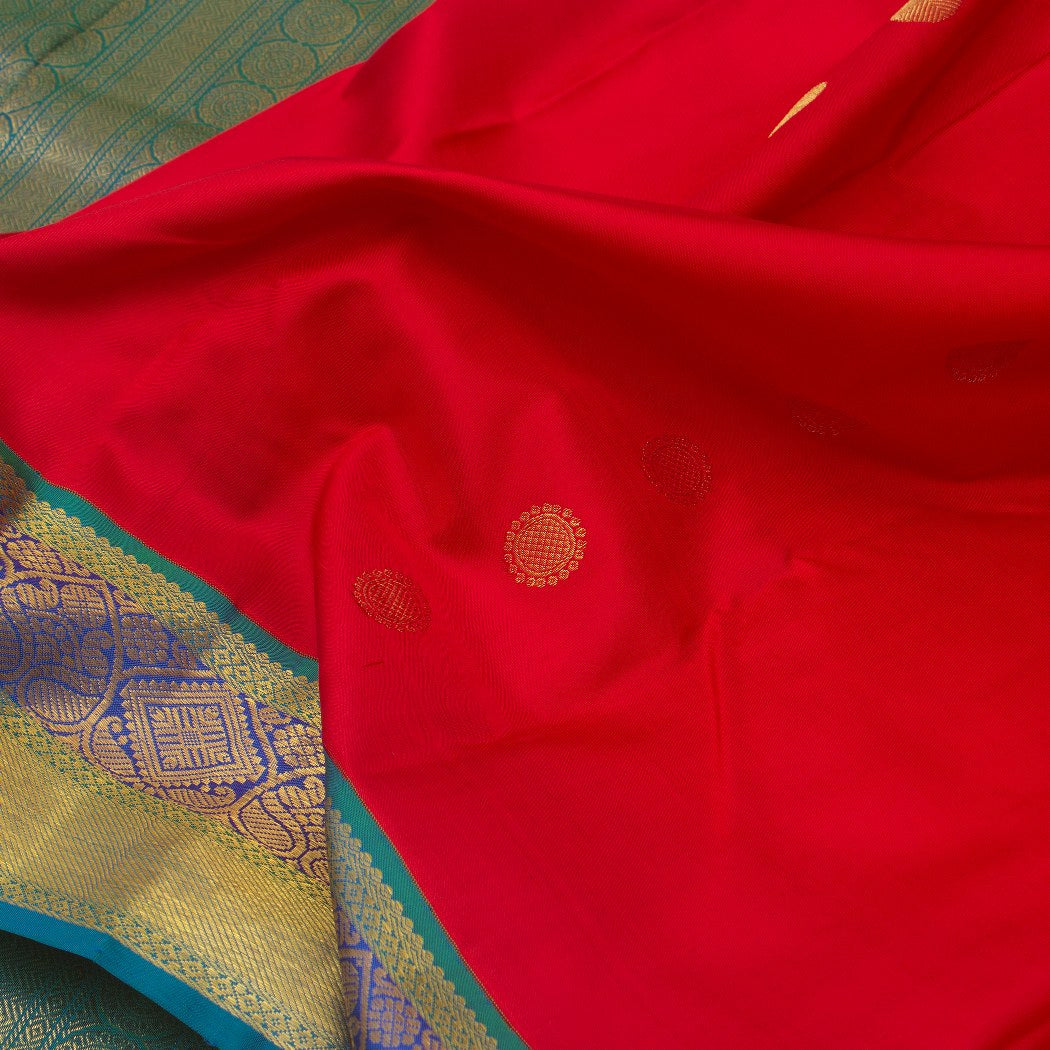BB072922-Scarlet Red Korvai Kanjivaram Silk Handloom Saree With Chakra Motifs