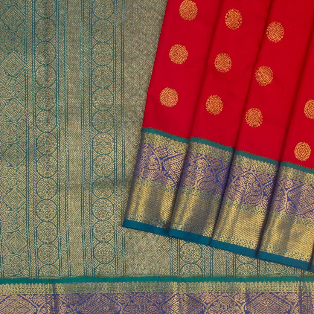 Scarlet-Red-Kanjivaram-Silk-Handloom-Saree-With-Chakra-Motifs