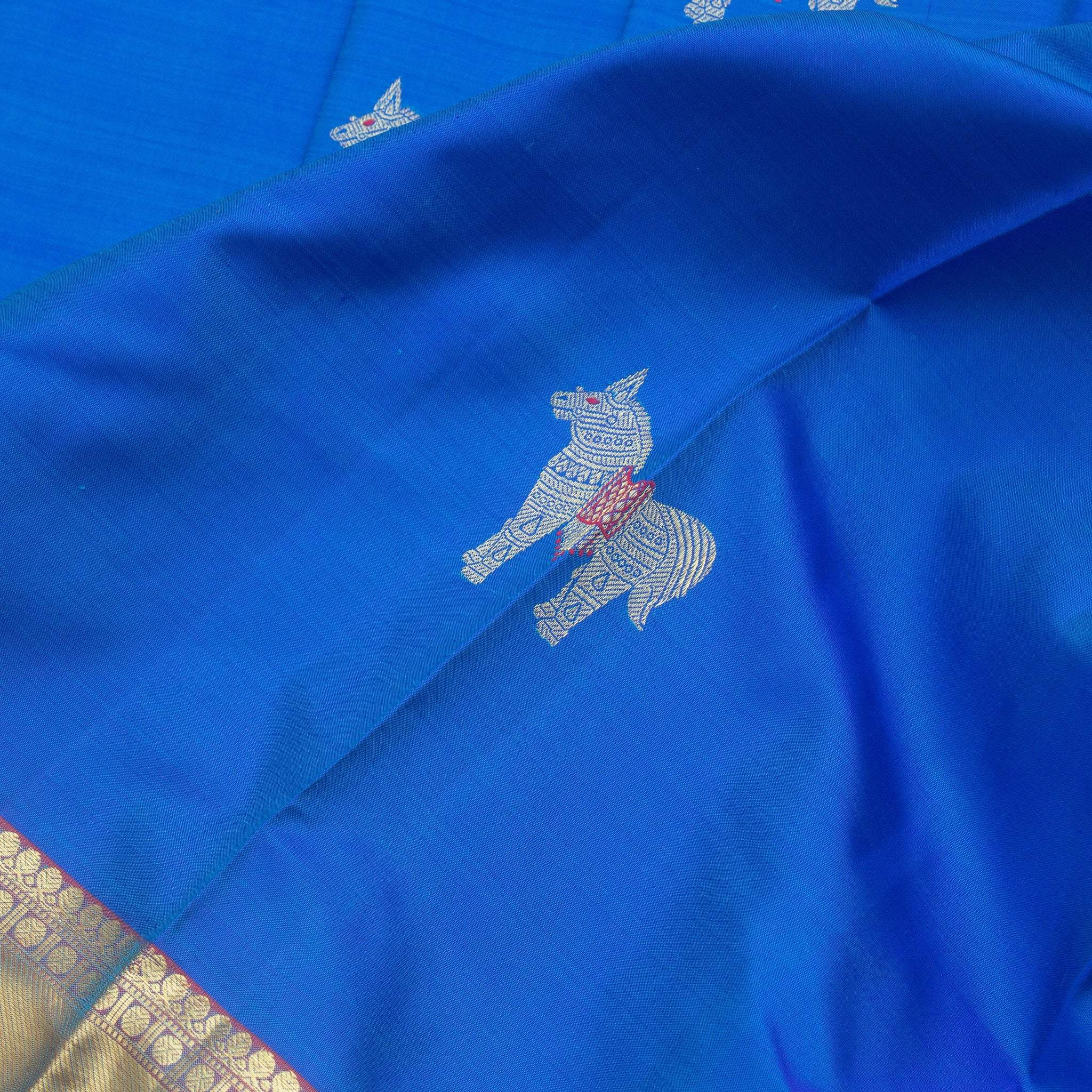 BB074981-Deep Aqua Blue Kanjivaram Silk Handloom saree With Horse Motifs