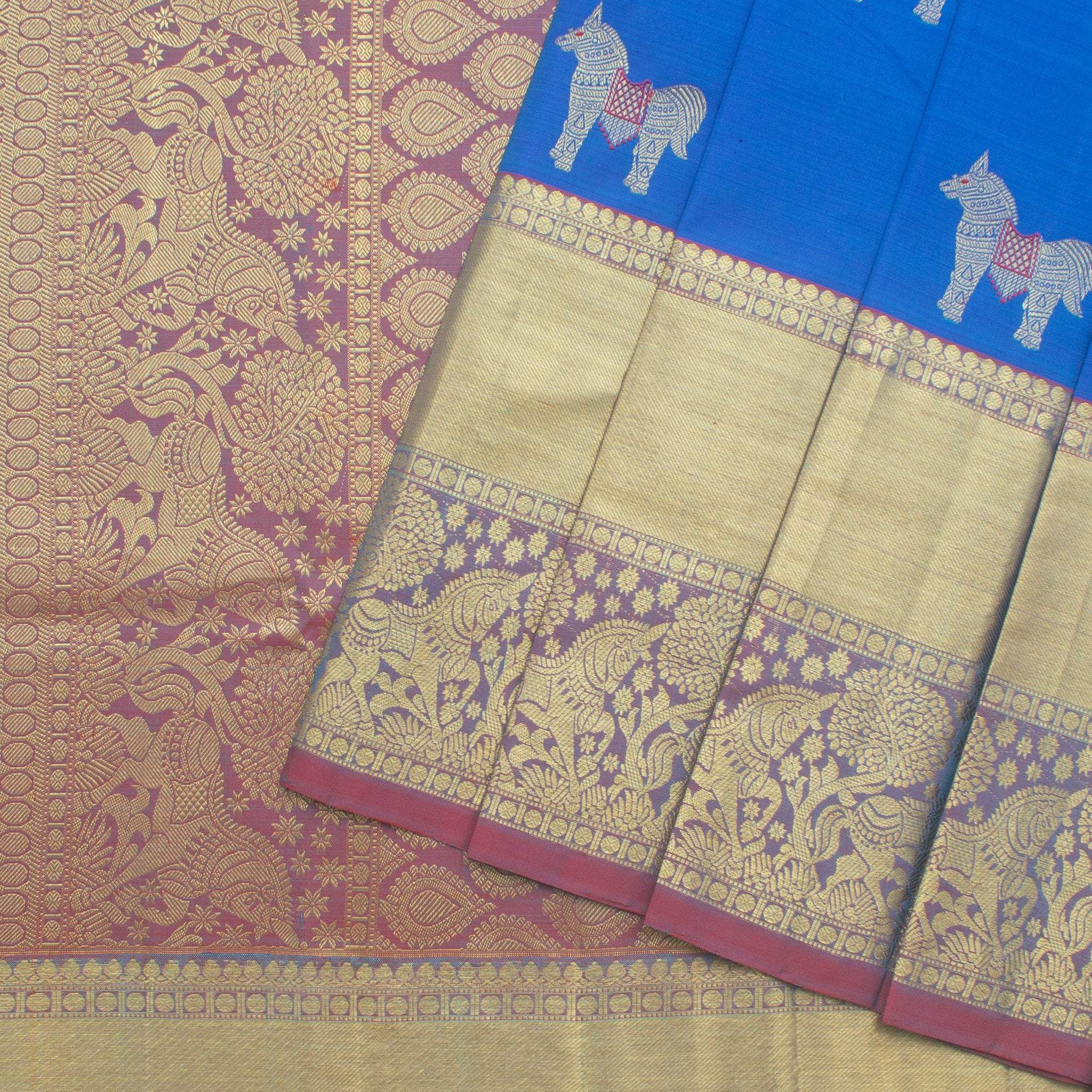 Deep-Aqua-Blue-Kanjivaram-Silk-Handloom-saree-With-Horse-Motifs