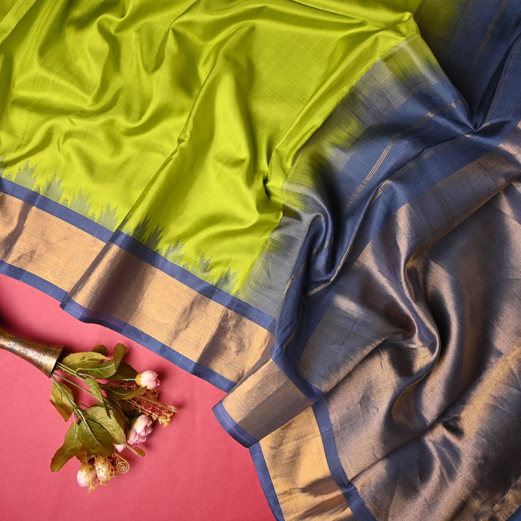 Buy Lime Green Gadwal Silk Handloom Saree