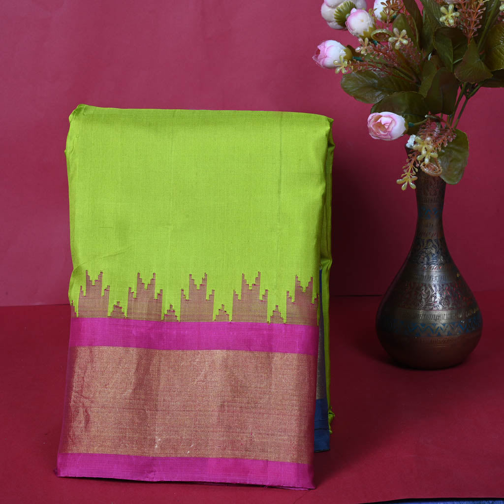 Lime Green Gadwal Silk Handloom Saree