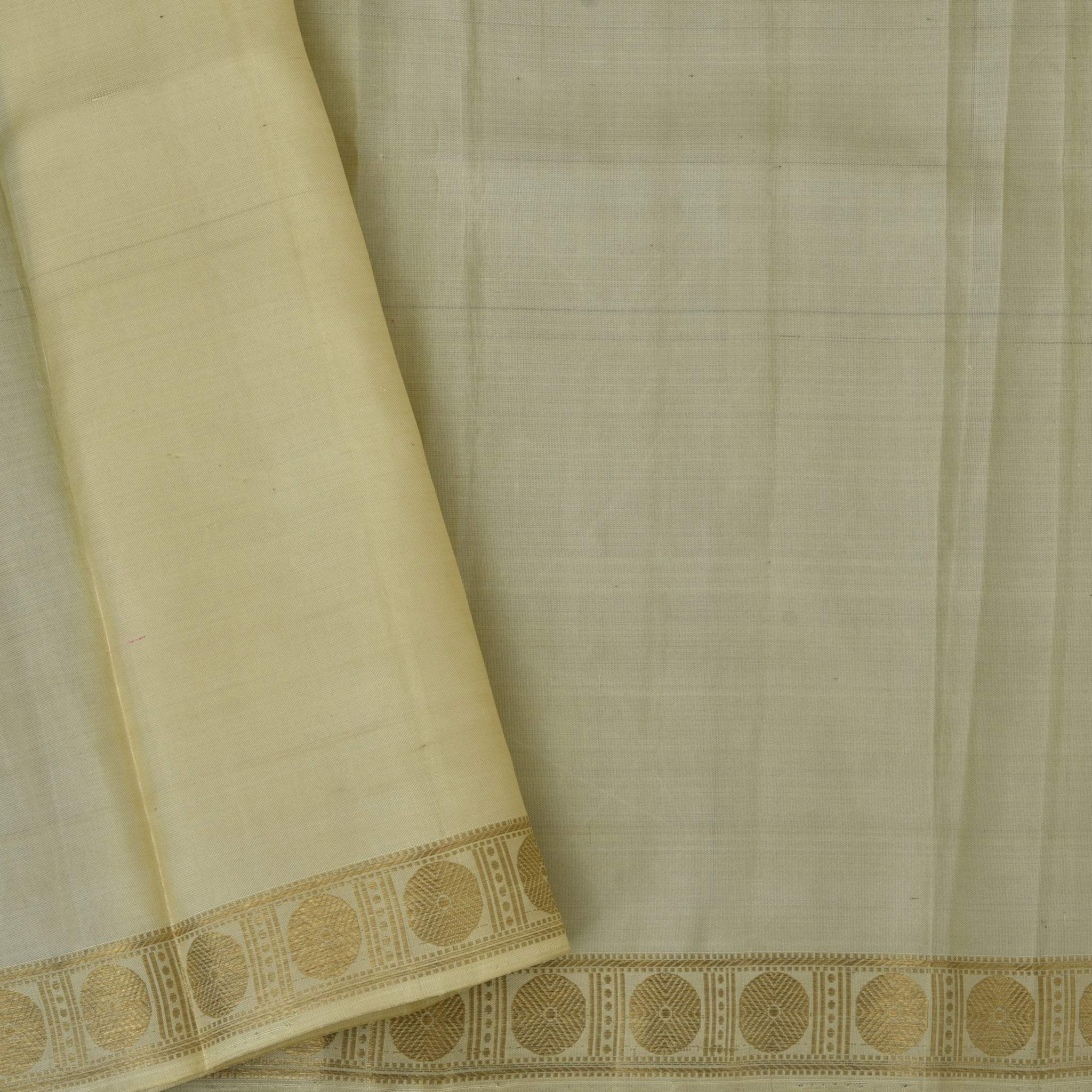 BB075449-Soft Cream checkered Borderless Kanjivaram Handloom Silk Saree