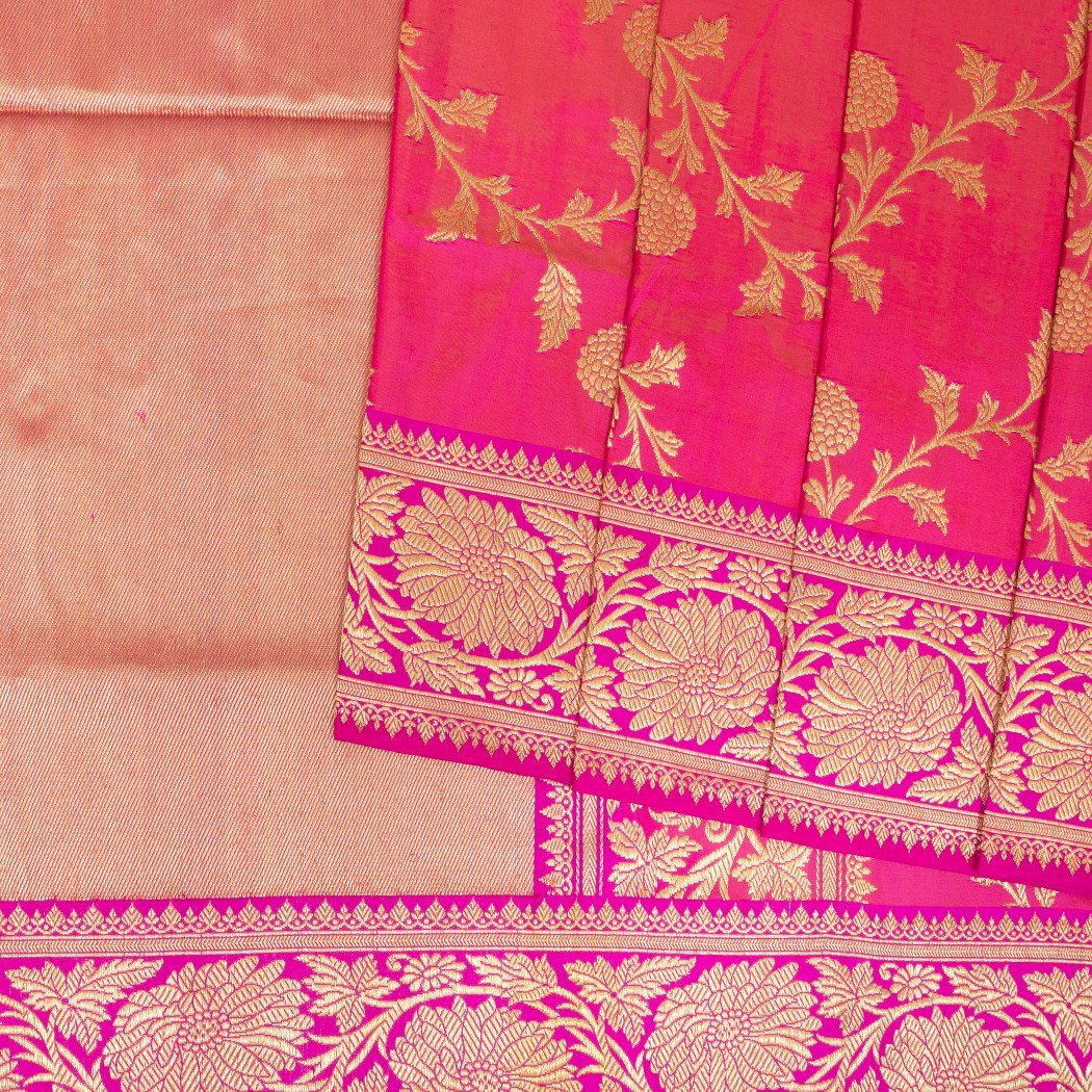 Punch-Pink-Banarasi-Silk-Handloom-Saree-With-FloraL-Jaal