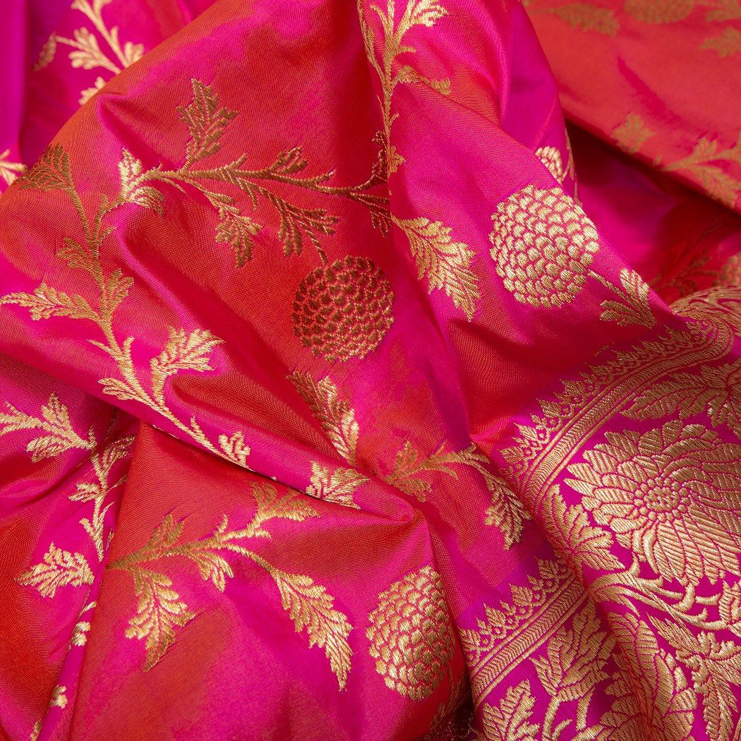 BB076815-Punch Pink Banarasi Silk Handloom Saree With Floral Jaal