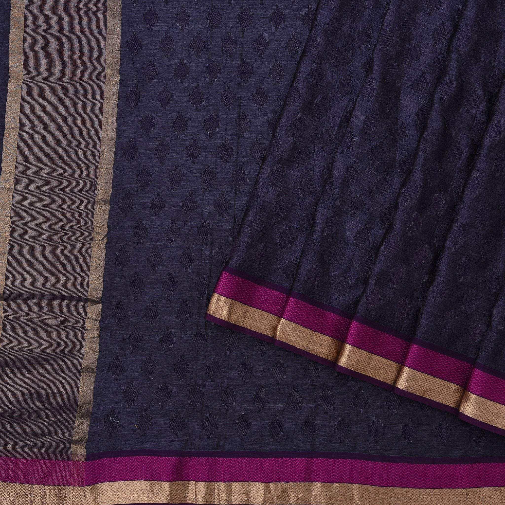 Space-Blue-Tussar-Embroidered-Handloom-Saree