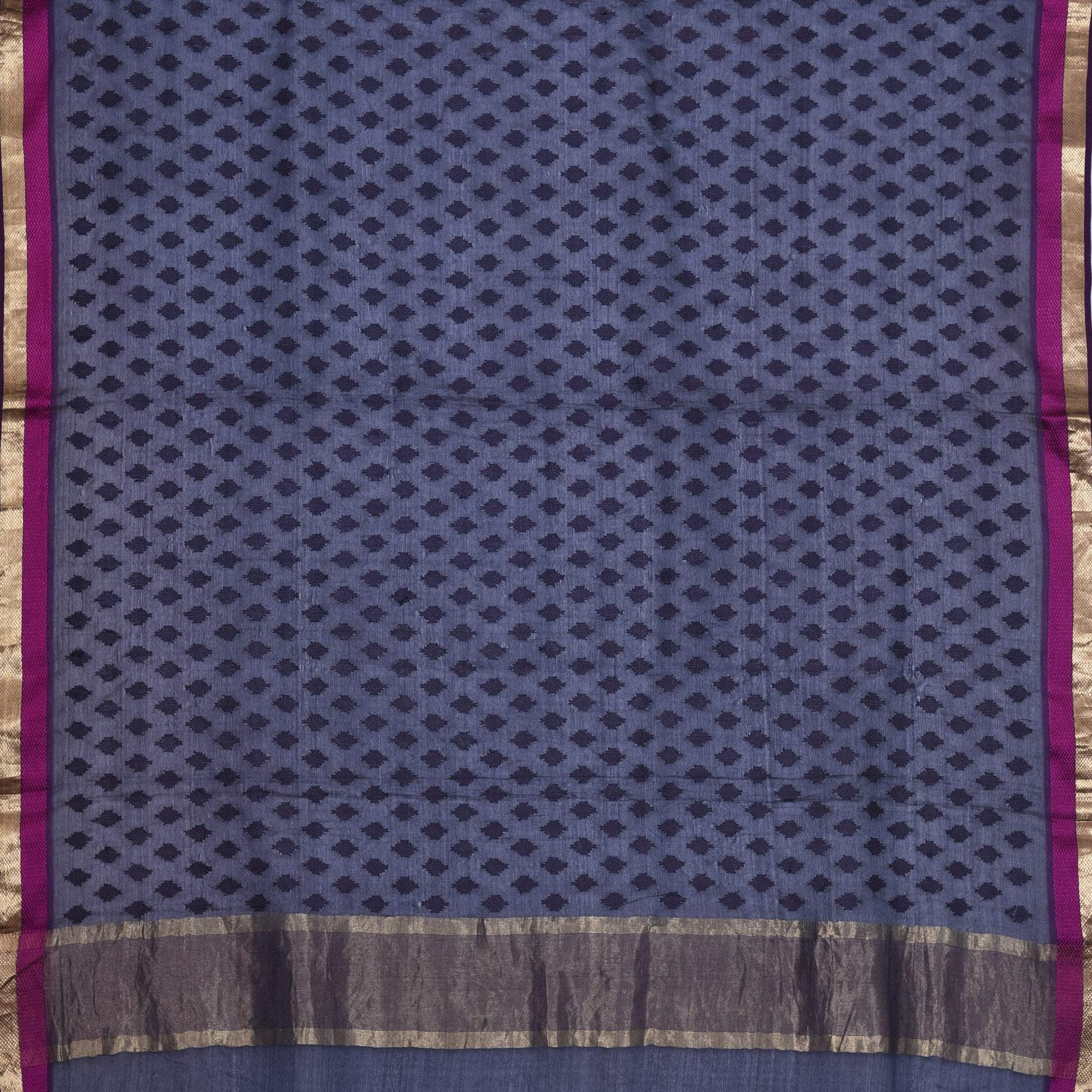 BB076864-Space Blue Tussar Embroidered Handloom Saree